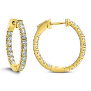 18KT 1.25 CT Diamond Round Hoop Earrings