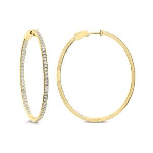 18KT 1.85 CT Diamond Hoop Earrings
