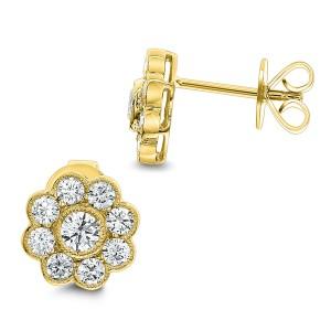 18KT 1.15 CT Diamond Floral Stud Earrings