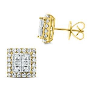 18KT 2.16 CT Diamond Square Cluster Earrings