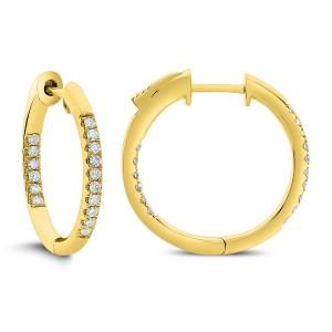 14KT 0.25 CT Diamond Round Shape Hoop Earrings
