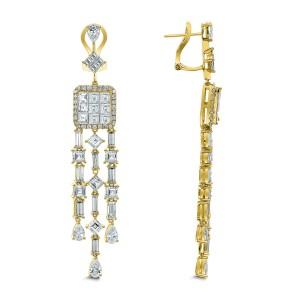 18KT 13.43 CT Diamond Dangle Earrings