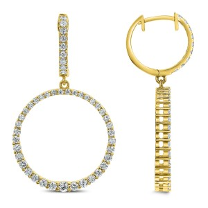 18KT 1.20 CT Diamond Round Dangle Earrings