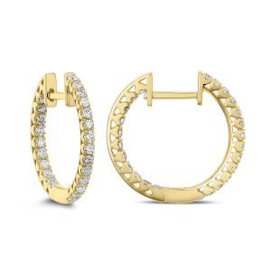 18KT 0.66 CT Diamond Inside Outside Hoop Earrings