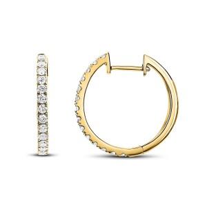 14KT 0.12 CT Diamond Round Hoop Earrings
