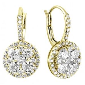 18KT 1.77 CT Diamond Flower Shape Earrings