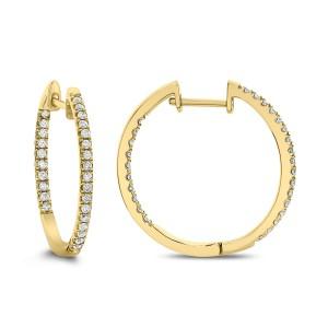 18KT 0.51 CT Diamond Inside Outside Hoop Earrings
