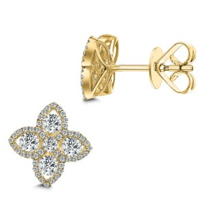 18KT 0.87 CT Diamond Floral Stud Earrings