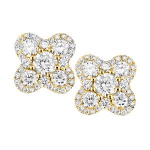 18KT 1.30 CT Diamond Four Leaf Earrings