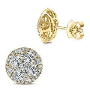 18KT 2.50 CT Diamond Round Cluster Stud Earrings