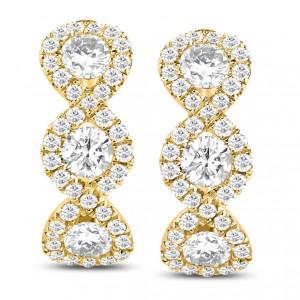 18KT 1.32 CT Diamond Huggy Hoop Earrings