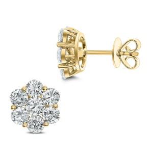 18KT 3.14 CT Diamond Floral Cluster Stud Earrings