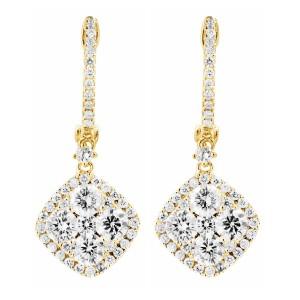 18KT 1.77 CT Diamond Shape Dangle Earrings