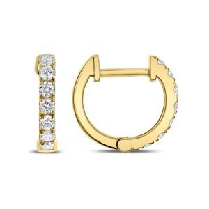 18KT 0.37 CT Diamond Round Hoop Earrings