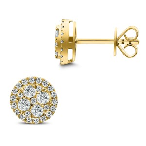 18KT 0.67 CT Diamond Round Cluster Earrings