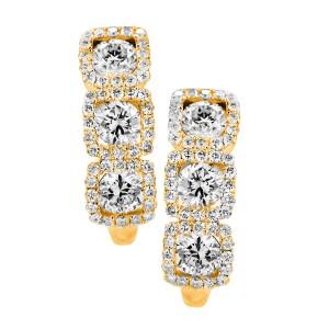 18KT 1.42 CT Diamond 3 Square Shape Huggy Earrings