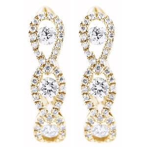 18KT 0.42 CT Diamond 3 Drops Shape Hoop Earrings