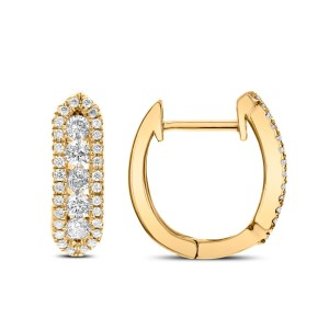 14KT 0.39 CT Diamond Hoop Earrings