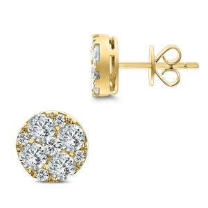 18KT 1.39 CT Diamond Round Cluster Stud Earrings
