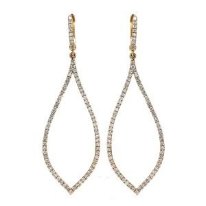 18KT 1.76 CT Diamond Long Dangle Earrings