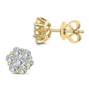 18KT 1.48 CT Diamond Floral Cluster Stud Earrings
