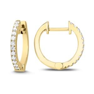 14KT 0.60 CT Diamond Round Shaped Hoop Earrings