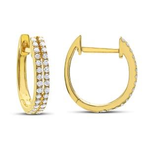 14KT 0.25 CT Diamond Double Row Hoop Earrings