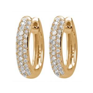 18KT 0.45 CT Diamond Three Row Hoop Earrings