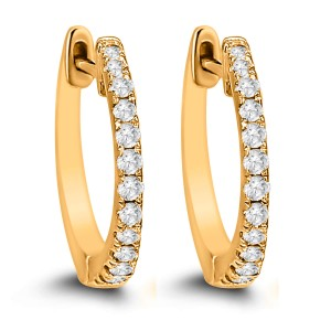 14KT 0.20 CT Diamond Hoop Earrings