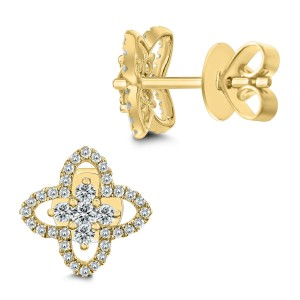 18KT 0.43 CT Diamond Floral Earrings