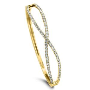 18KT 2.31 CT Diamond Twisted Bangle