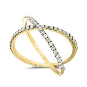 18KT 0.50 CT Diamond Criss Cross Ring
