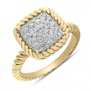 18KT 0.40 CT Diamond Square Ring