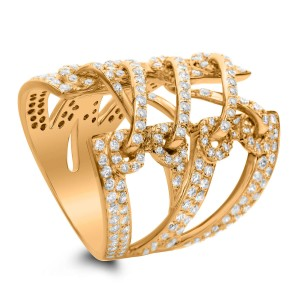 18KT 2.25 CT Diamond Criss Cross Open Statement Ring