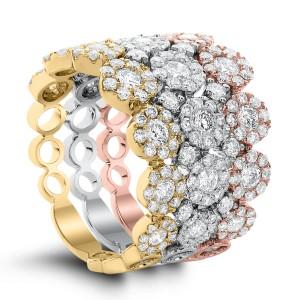 18KT 2.55 CT Diamond Triple Ring Set