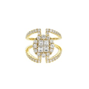18KT 1.10 CT Diamond Split Shank Cocktail Ring