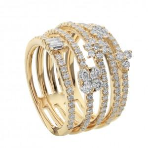 18KT 1.35 CT Diamond Multi-Layer Ring
