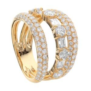 18KT 2.35 CT Diamond Triple Row Ring