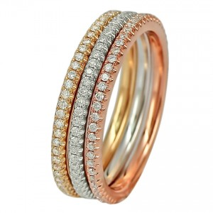 18KT 0.69 CT Diamond Tri-Color Ring Set