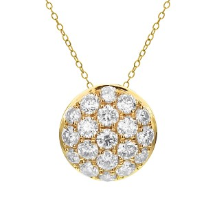 18KT 0.34 CT Diamond Round Cluster Pendant With Chain