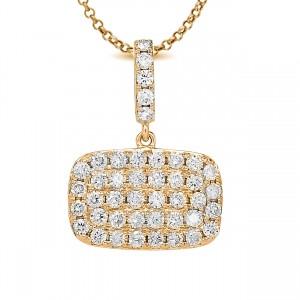 18KT 0.87 CT Diamond Rectangle Shape Pendant With Chain