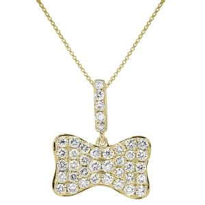 18KT 0.80 CT Diamond Bow Shape Pendant With Chain