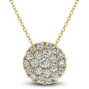 18KT 0.65 CT Diamond Round Cluster Pendant With Chain