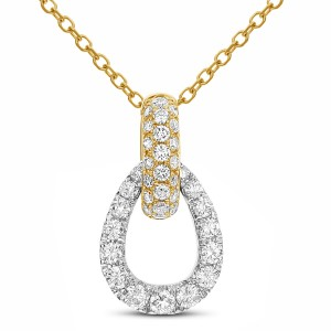 18KT 0.47 CT Diamond Pear Shape Pendant With Chain