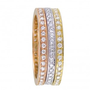 18KT 1.15 CT Diamond Tri-Color Band Set