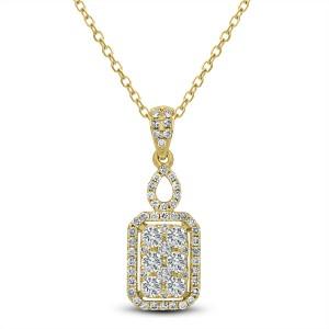18KT 0.62 CT Diamond Rectangle Shape Pendant With Chain