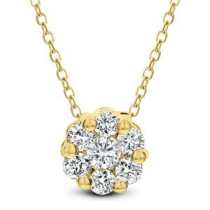 18KT 0.10 CT Diamond Small Flower Shape Pendant