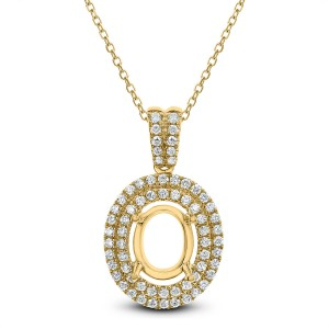 18KT 0.60 CT Diamond Double Halo Oval Pendant With Chain