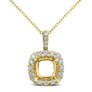 18KT 0.58 CT Diamond Open Cushion Shape Pendant With Chain