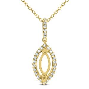 18KT 0.18 CT Diamond Marquise Shape Pendant